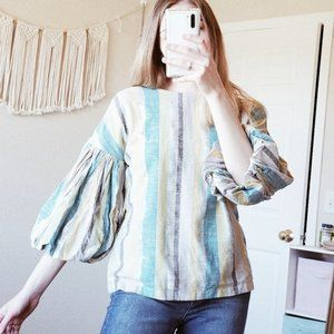 SEEN WORN KEPT Metallic Puff Sleeve Striped Blouse